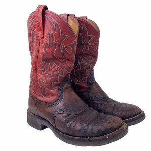 Ariat Ostrich Red Leather Western Cowboy Boots